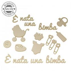 Abbellimenti in cartone vegetale Scrapbooking Facile - E' Nata una Bimba