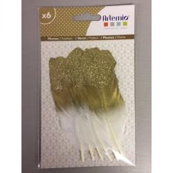 Abbellimenti Atremio - Piume glitter - Oro