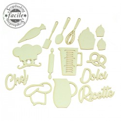 Abbellimenti in cartone vegetale Scrapbooking Facile - Set Dolci Ricette