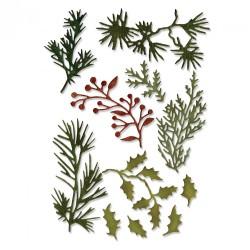 Fustella Sizzix Thinlits T. Holtz - Holiday Greens, Mini