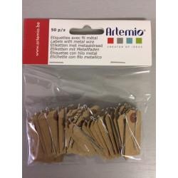 Etichette con filo in metallo Artemio  - 2x4 cm Kraft