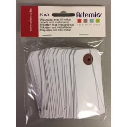 Etichette con filo in metallo Artemio  - 4x9 cm Bianco