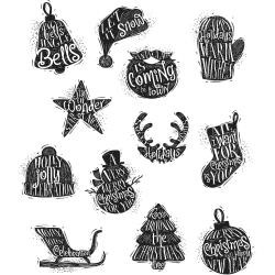 Timbro Cling Tim Holtz - Mini Carved Christmas