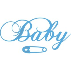 Fustella Marianne Design - Baby Text & Safety Pin,