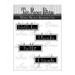 Timbro Clear Two Paper Divas - Word Block Silhouttes
