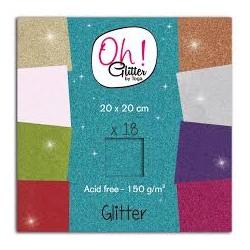Blocco di fogli di carta 20 x 20 cm Toga - Assortimento Glitter