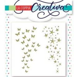 Stencil La Coppia Creativa - FARFALLE E STELLE