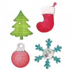 Fustella Sizzix Bigz - Christmas Tree, Ornament, Snow flake & Stocking