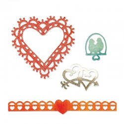 Fustella Sizzix Thinlits - Love Birds & Hearts