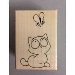 Timbro in legno Artemio - Gatto e farfalla