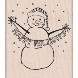 Timbro legno Hero Arts - Happy Holidays Snowman