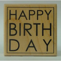 Timbro in legno Artemio - happy birthday