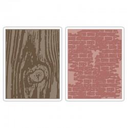 Fustella Sizzix Texture Impressions - Bricked & Woodgrain Set