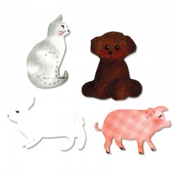 Fustella Sizzix Bigz - Bigz Cat, Dog, Pig & Rabbit