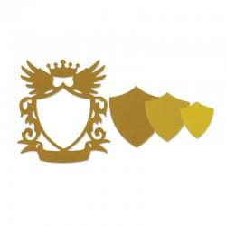 Fustella Sizzix Frame, Shield w/Crown & Wings