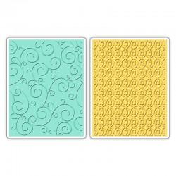 Fustella Sizzix Textured Impressions - Swirls & Squares in Ovals Set