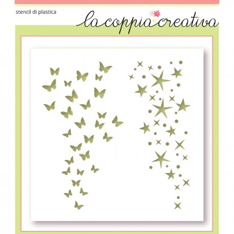 Stencil La Coppia Creativa - Stelle e farfalle