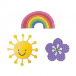 Fustella Sizzix Thinlits - Flower, Rainbow & Sun