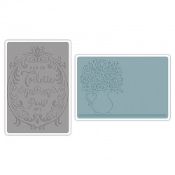 Embossing Folder -  Flowers & Perfume Label Set