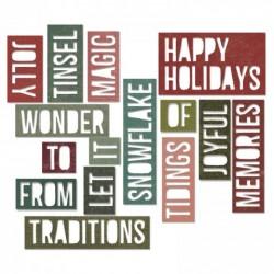 Fustella Sizzix Thinlits T. Holtz - Holiday Words 2: Block