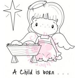 Timbro Cling C.C. Designs - Angel & Baby Jesus