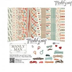 Pad Carte 15x15cm ModaScrap - Manly Man