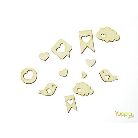 Abbellimenti in cartone vegetale Yuppla - Amore - S. Valentino