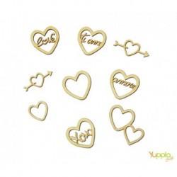 Abbellimenti in cartone vegetale Yuppla - Amore - Cuori Amore