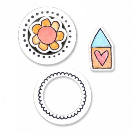Fustella e Timbro Sizzix - Circles & Icons, Flower & House