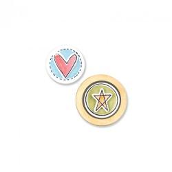 Fustella e Timbro Sizzix - Circles & Icons, Hearts & Star