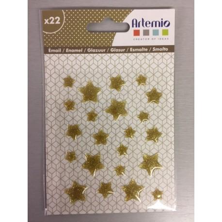 Enamel Dots Artemio - Glitter - Stelle Oro