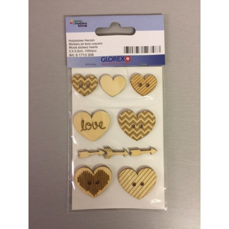 Abbellimenti in legno stickers - Glorex - Cuori