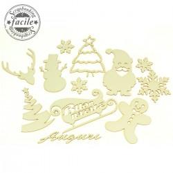 Abbellimenti in cartone vegetale Scrapbooking Facile - Set Natale