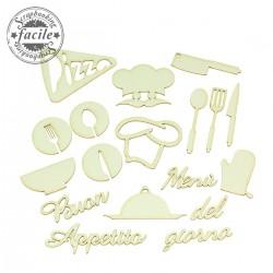 Abbellimenti in cartone vegetale Scrapbooking Facile - Set Buon Appetito