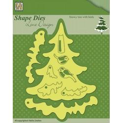 Fustella Nellie Snellen - Snowy tree with birds