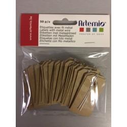 Etichette con filo in metallo Artemio  - 3x5.5 cm Kraft