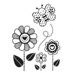 Timbro Legno Aladine - Fiori e Farfalla