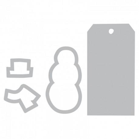 Fustella e Timbro   Sizzix Framelits Die Set 4PK w/Stamps - Snowman & Tag