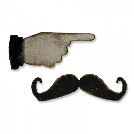 Fustelle Sizzix Movers & Shapers Magnetic Die Set 2PK - Mini Mustache & Pointed Finger