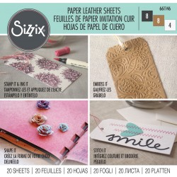 "Sizzix Paper Leather Sheets - 6"" x 6"" Assorted Basics, 20 Pack"