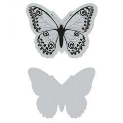 Fustella e timbro Sizzix Framelits Die Set 2PK w/Stamp - Wild Butterfly
