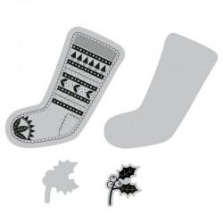 Fustella e timbro Sizzix Framelits Die Set 2PK w/Stamps - Fairisle Stocking