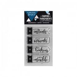 Timbro clear Florileges - Quatre étiquettes