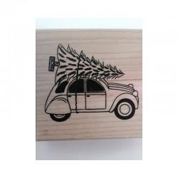 Timbro Legno Aladine - Auto con Albero di Natale