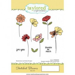 Timbri Cling Taylored Expressions - Sketched Blooms