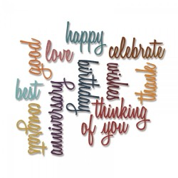 Fustella Sizzix Thinlits T.Holtz - Celebration words: Script