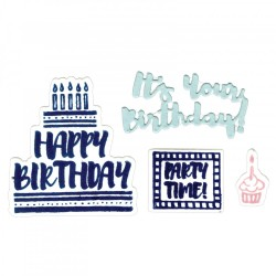 Fustella e timbro Sizzix Framelits w/Stamps - It's Your Birthday