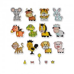 Fustella e timbro Sizzix Framelits w/Stamps - Zodiac Animals