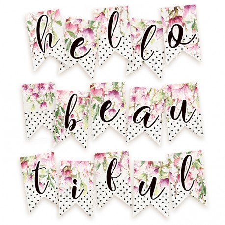 PIATEK13 - Hello Beautiful - Paper die cut garland - Hello Beautiful