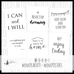 PIATEK13 - Words - Set of  mini poster 15 x 20cm